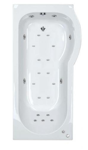 23 jet Trojan Concert 1675 mm Right Hand P Shaped Whirlpool Shower Bath