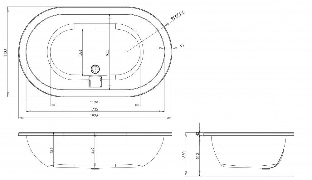 Trojan Titan Inset Super Deep 1925 x 1135 mm Whirlpool Bath Technical Drawing