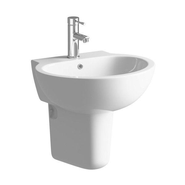 Moods Tarragon 1 Tap Hole Basin with Semi Pedestal 530mm