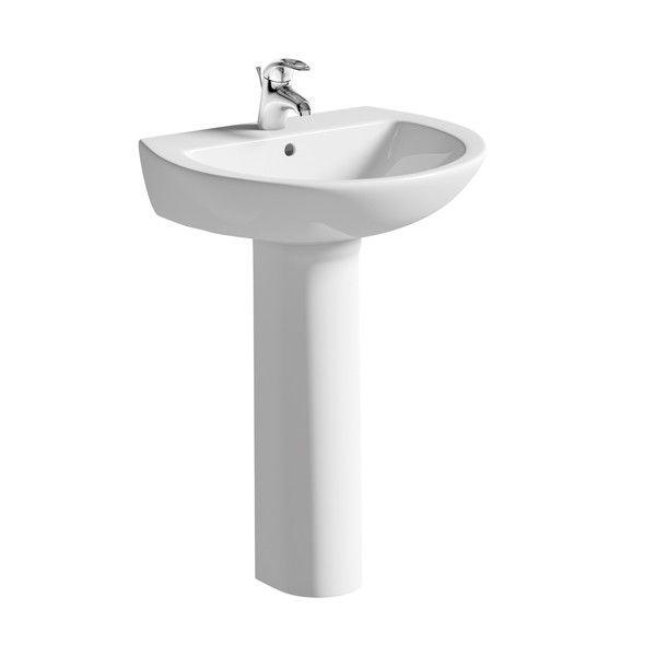 Moods Naples 1 Tap Hole Basin with Full Pedestal 600mm