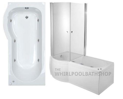 LH P Shaped 6 Jet Enclosed Whirlpool Shower Bath