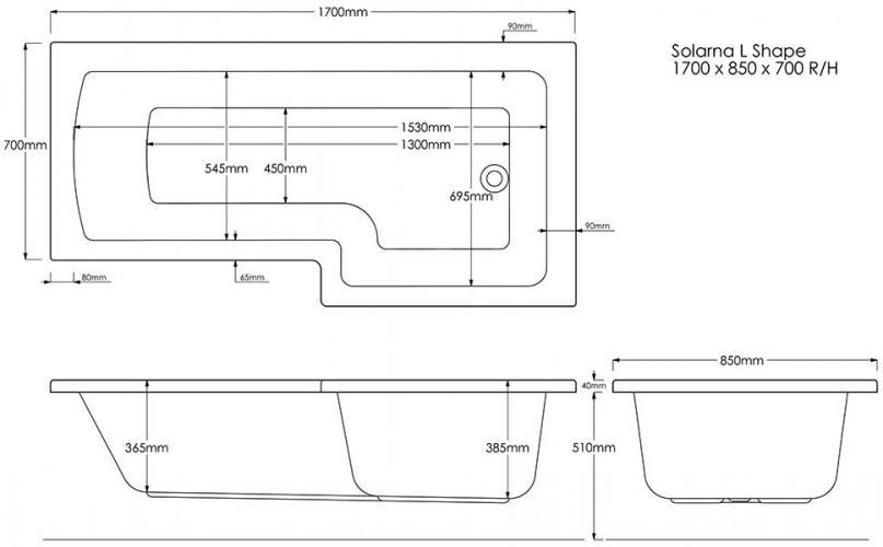L Shape Shower Bath Technical Drawing