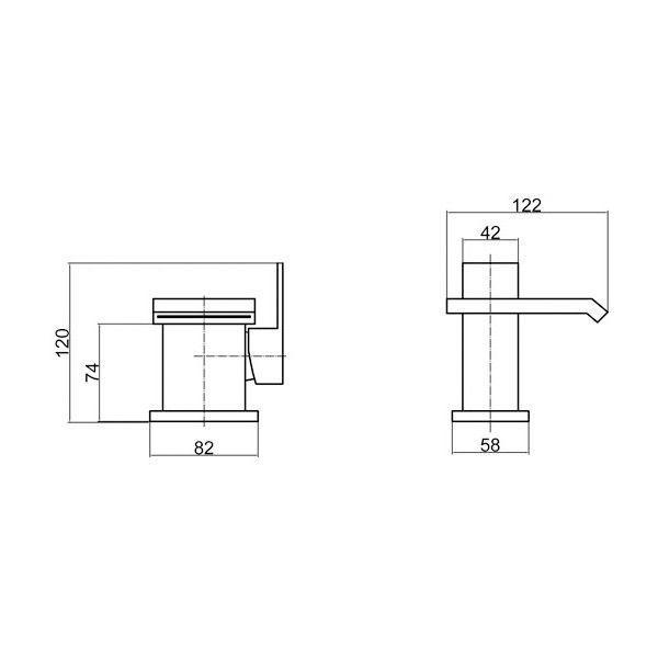 Technical Drawing Ultra Side Action Mono Basin Mixer Tap without