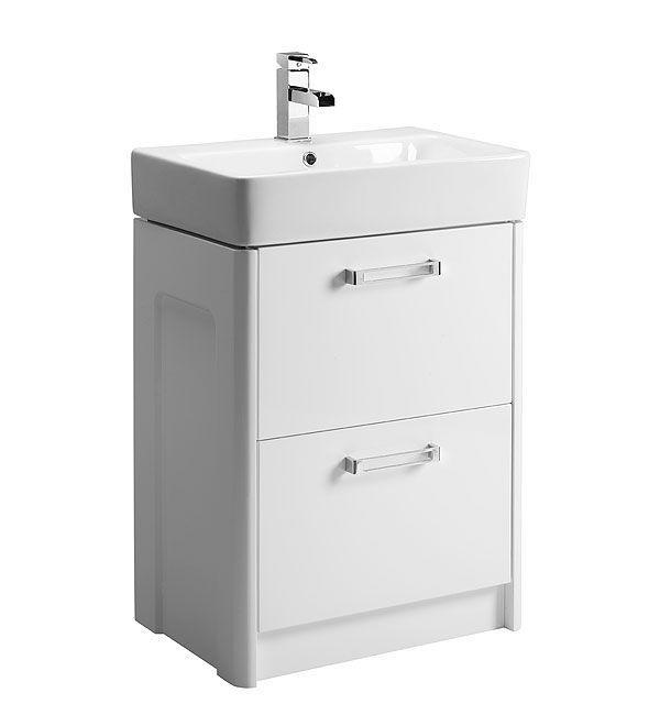Tavistock Q60 560mm White Freestanding Vanity Unit & Ceramic Bas