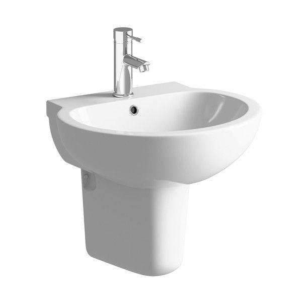Moods Mimosa 1 Tap Hole Basin with Semi Pedestal 535 mm