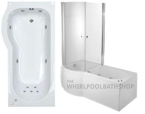 LH P Shaped 11 Jet Enclosed Whirlpool Shower Bath