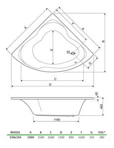 Gloria 1500 mm Technical Drawing