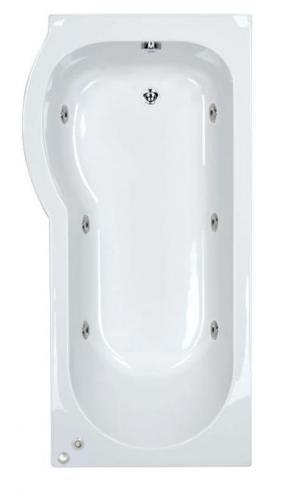 6 jet Trojan Concert 1600 mm Left Hand P Shaped Whirlpool Shower Bath