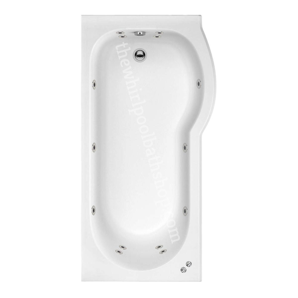14 jet Trojan Concert 1600 mm Right Hand P Shaped Whirlpool Shower Bath