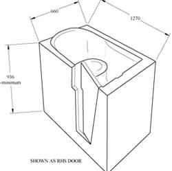Eris Sit Down Spa Bath Technical Drawing