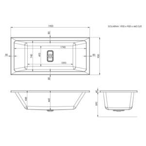 Trojan Solarna Linear Super Deep 1900 x 900 Whirlpool Bath Technical Drawing