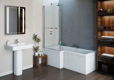 H 23 Jet L Shape Whirlpool Shower Bath