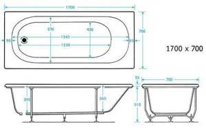 Trojan 1700 mm Cascade Technical Drawing