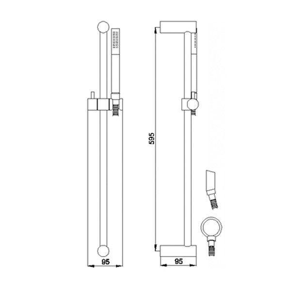 Technical Drawing Hudson Reed Minimalist Slide Rail Kit A3214