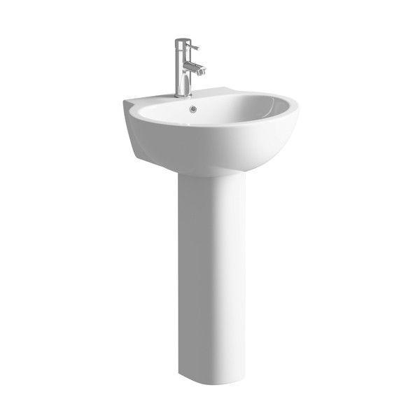 Moods Tarragon 1 Tap Hole Basin with Full Pedestal 550mm