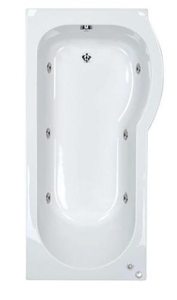 6 jet Trojan Concert 1500 mm Right Hand P Shaped Whirlpool Shower Bath