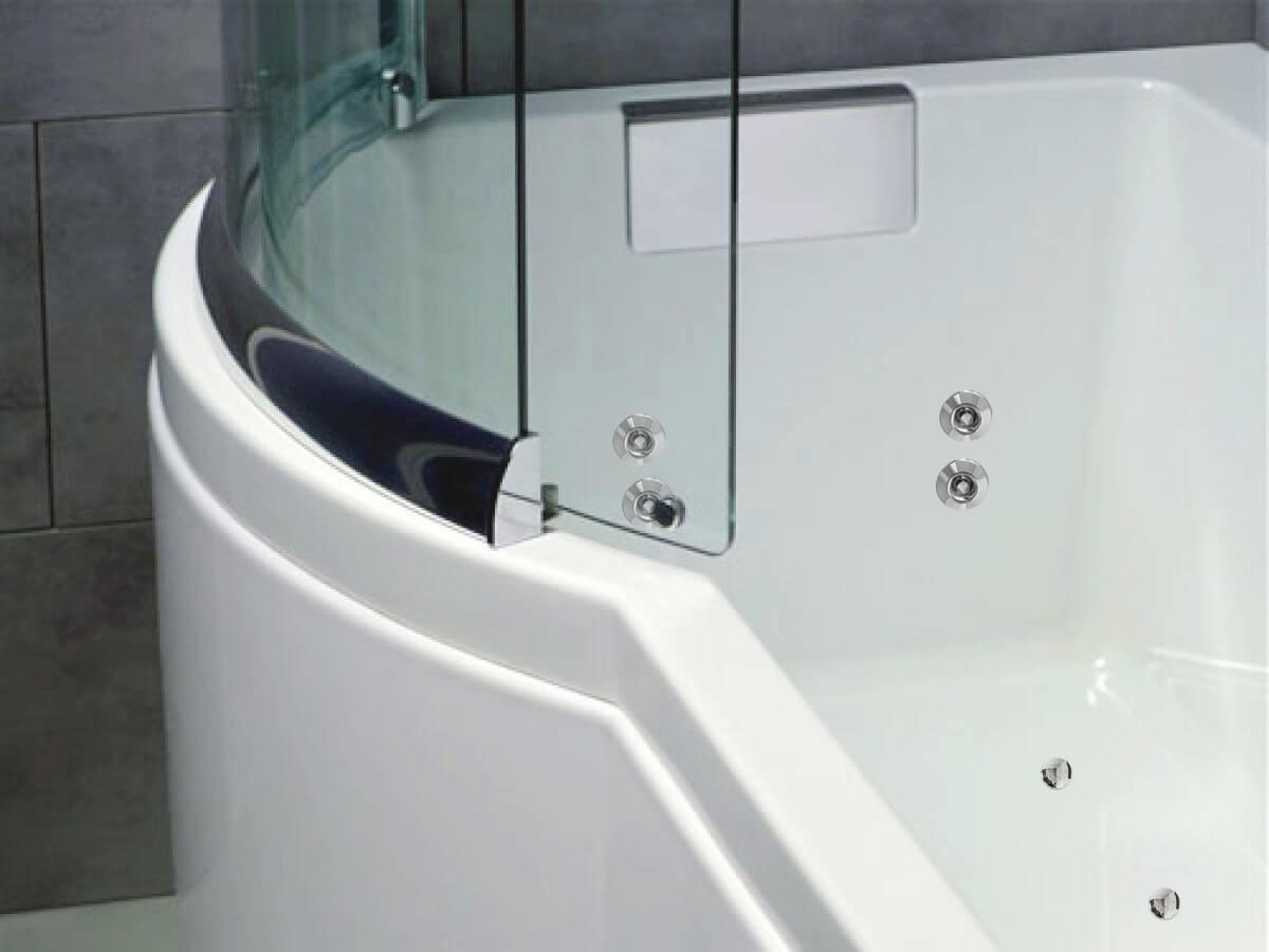 Close up shower screen and foot jets