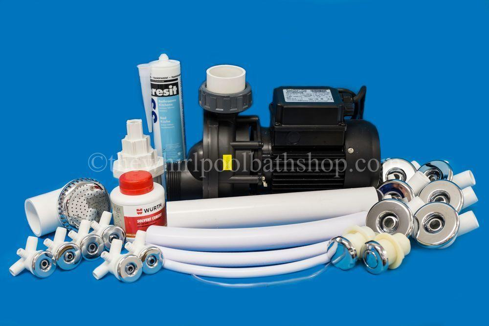 D.I.Y 11 Jet Whirlpool Bath Kit inc Jets & Pump, Tool & Pipe Work