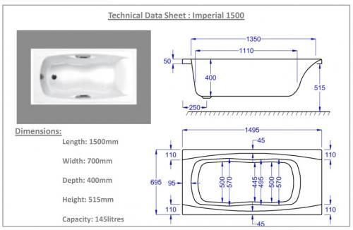 1500 x 700 Imperial Technical Drawing