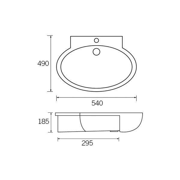 Moods Tarragon 1 Tap Hole Semi Recessed Basin