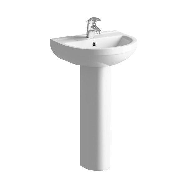 Moods Saffron 1 Tap Hole Basin with Full Pedestal 500mm