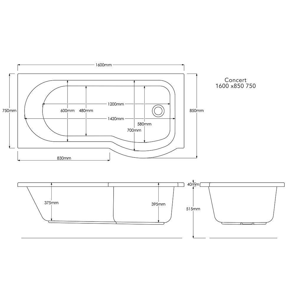 1600 mm concert shower bath technical
