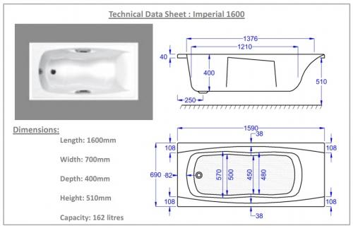 Carron Imperial Technical Drawing 1700 mm