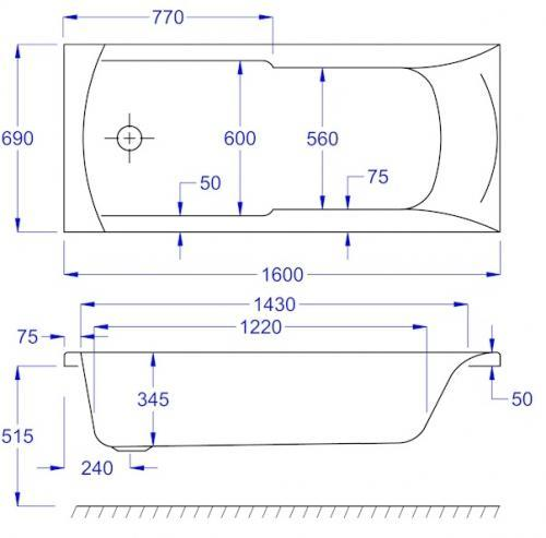 1600 x 700 Matrix Technical Drawing