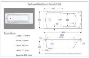 1500 x 700 Matrix Technical Drawing