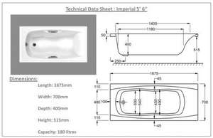 1675 x 700 Imperial Technical Drawing