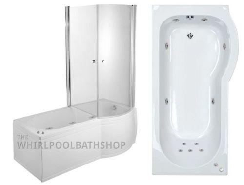 RH P Shaped 11 Jet Enclosed Whirlpool Shower Bath