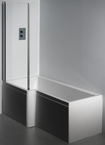 LH Carron Quantum Whirlpool Shower Bath Side View 1500 mm
