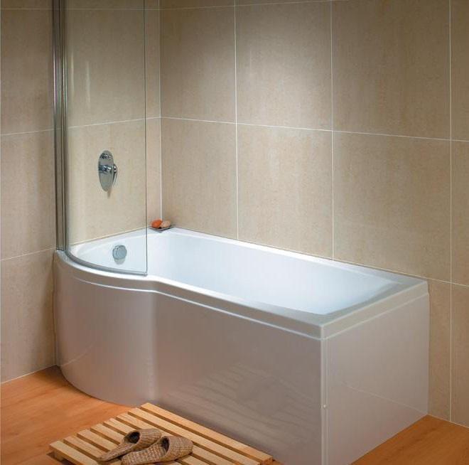Left Hand Carron Delta P Shape Whirlpool Shower Bath