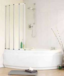 Volente Folding Glass Bath Shower Screen Open
