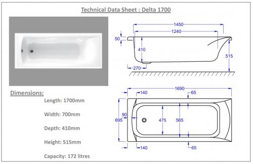 Carron Delta 1700mm 11 Jet Bath Technical