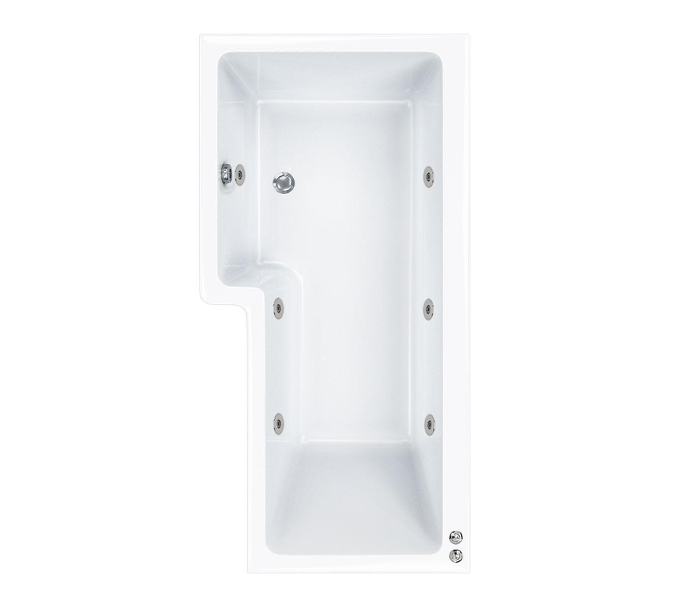 6 jet LH Carron 1500 mm Quantum L Shape Whirlpool Shower Bath