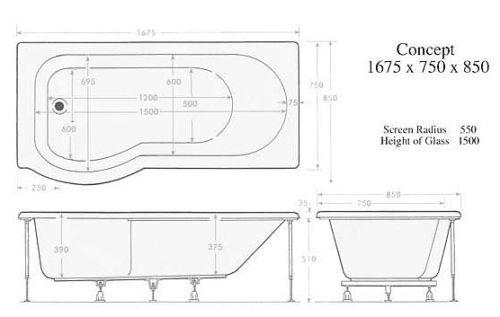 Moods Luxury Fully Enclosed 23 Jet Shower Bath Description - Right Hand Technical Drawing