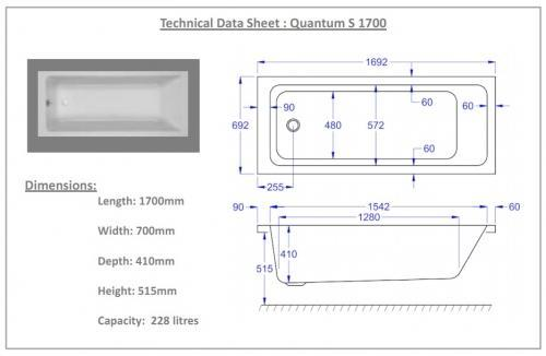Carron Quantum 1700 x 700 11 Jet Bath technical drawing