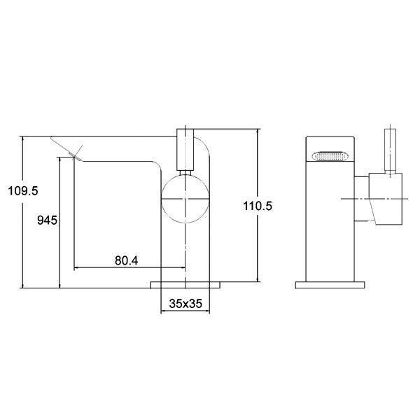 Technical Drawing Ultra Mini Side Action Mono Basin Mixer Tap PM