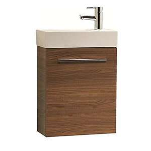 Tavistock Kobe 450mm Walnut Wall Mounted Vanity Unit & Ceramic B