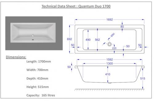 Carron Quantum Duo 1700 x 700 11 technical drawing