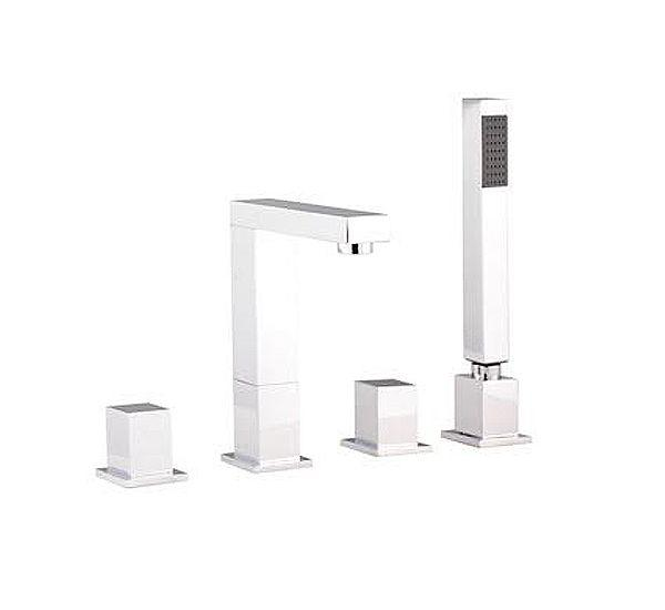 Hudson Reed Kubix Four Tap Hole Bath Mixer Tap With Swivel Spout