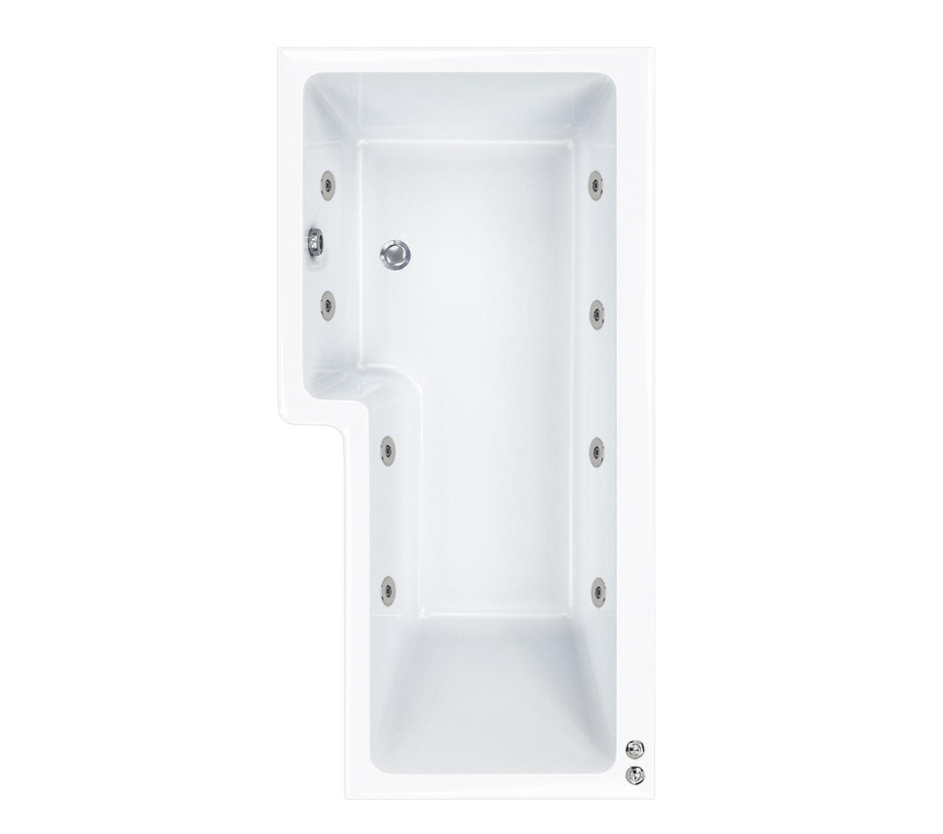 8 jet LH Carron 1500 mm Quantum L Shape Whirlpool Shower Bath