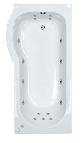 17 jet Trojan Concert 1675 mm Left Hand P Shaped Whirlpool Shower Bath
