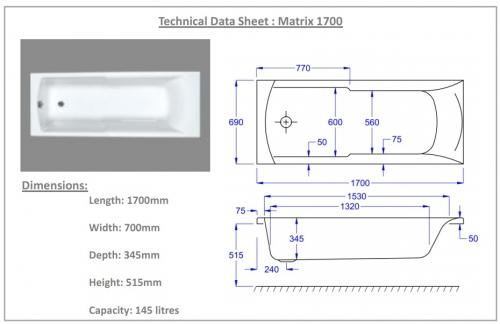 1700 x 700 Matrix Technical Drawing