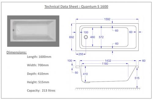 Carron Quantum Whirlpool Bath Technical