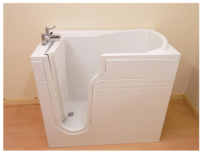 Eris lh mini sit down walk in spa bath 1060mm for Sit down shower tub