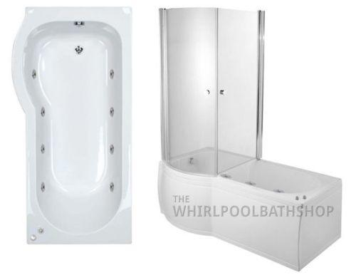 LH P Shaped 8 Jet Enclosed Whirlpool Shower Bath