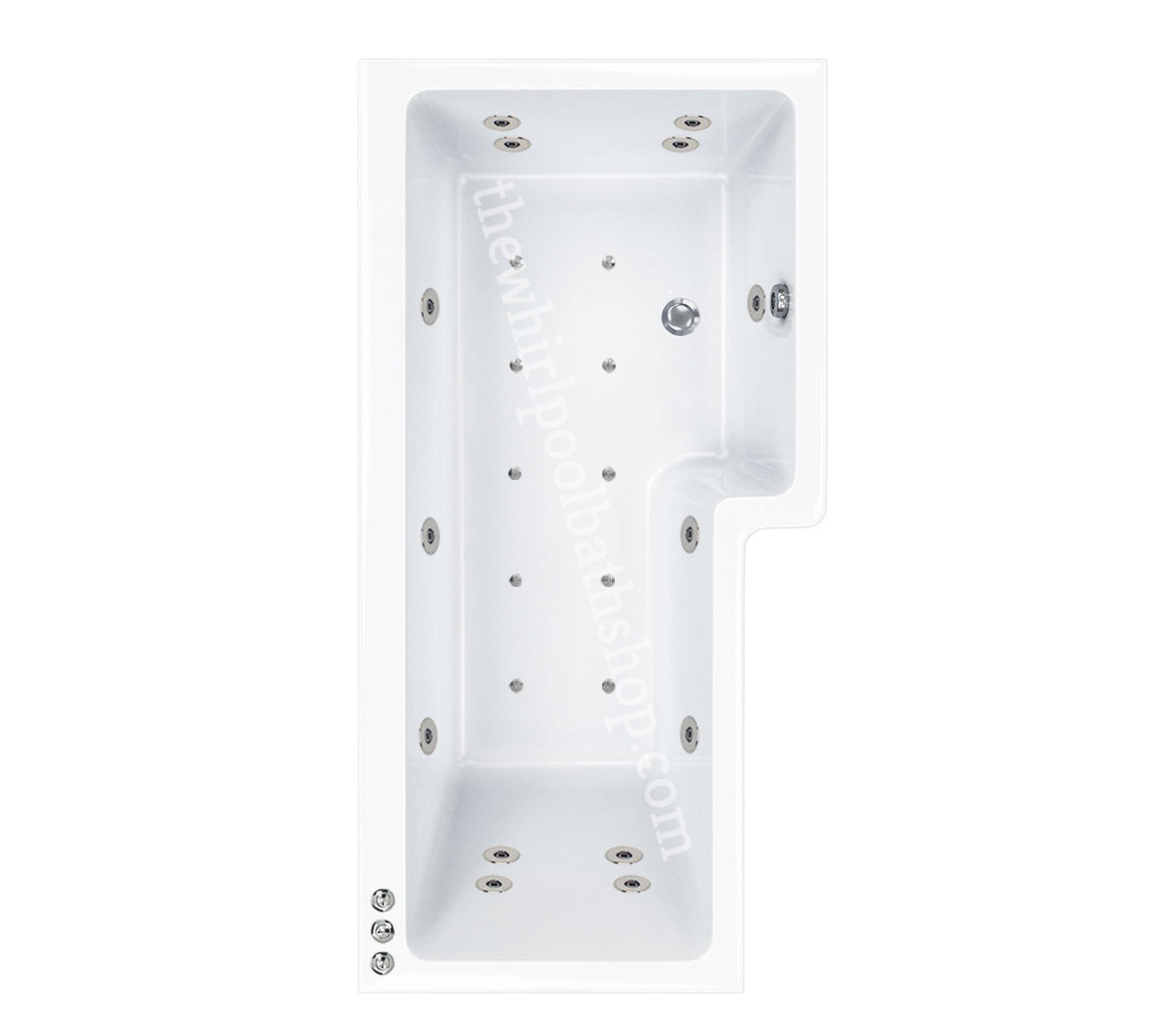 24 jet RH Carron 1700 mm Quantum L Shape Whirlpool Shower Bath