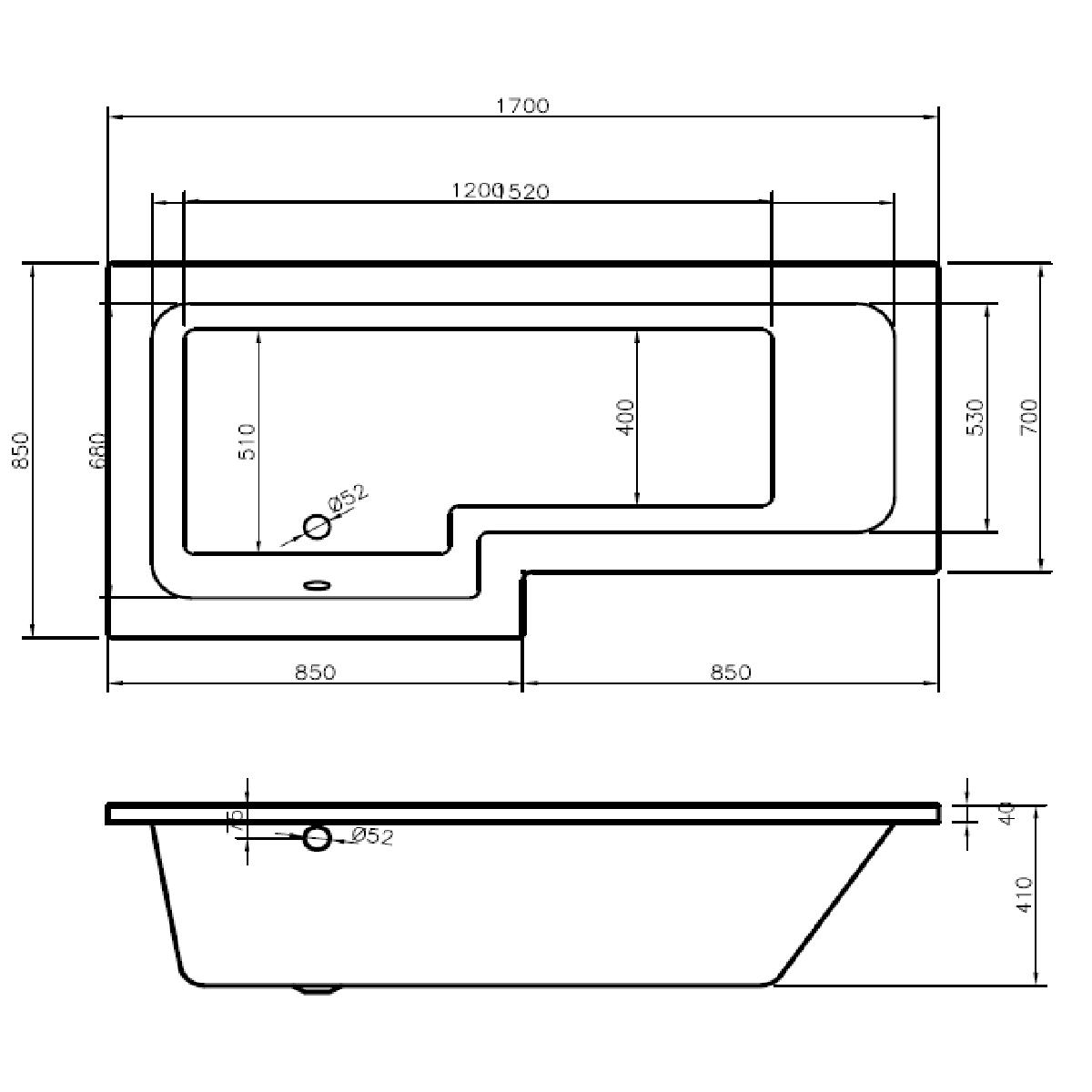 Oceania Technical Drawing L Shape LH